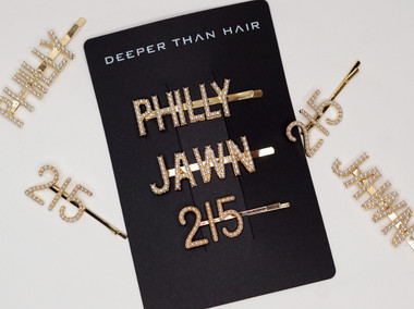 Rep your set with these LIMITED EDITION CUSTOM Philly hair accessories. This hair art can't be found anywhere else and are going fast! Comes with three gold and pearl clips that read, Philly, Jawn and 215.