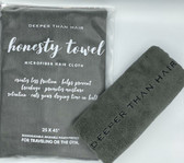 "There are still people that use cotton on their hair and we are here to change that! The Honesty Towel is our microfiber hair cloth and it honestly does what it says it does! It creates less friction, helps prevent breakage, promotes moisture retention and cuts drying time in half! Our towel is honestly the largest hair cloth on the market  at 25 X 45"" and comes in a biodegradable, reusable pouch perfect for traveling or the gym!  .."