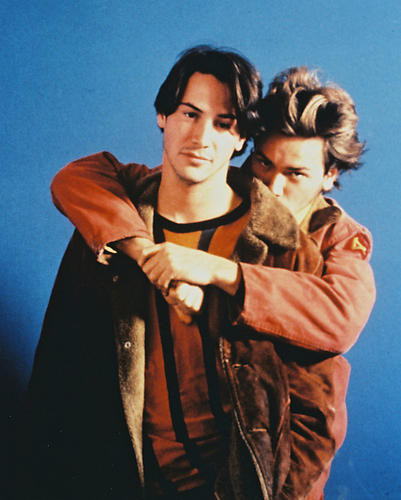 This is an image of 215379 River Phoenix & Keanu Reeves Photograph & Poster