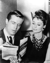 This is an image of 194419 Audrey Hepburn and George Peppard Photograph & Poster