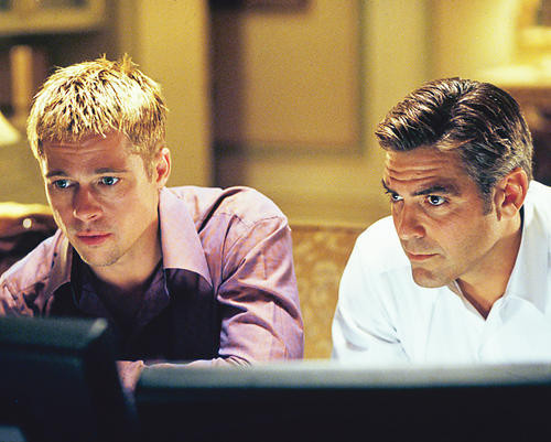 This is an image of 250133 George Clooney and Brad Pitt Photograph & Poster