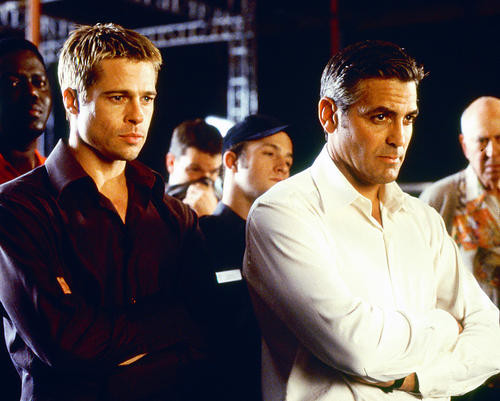 This is an image of 250131 George Clooney and Brad Pitt Photograph & Poster