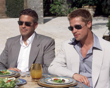 This is an image of 254341 George Clooney and Brad Pitt Photograph & Poster