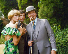 This is an image of 280846 Patrick Macnee as John Steed, Gareth Hunt as Mike Gambit and Joanna Lumley as Purdey in The New Avengers