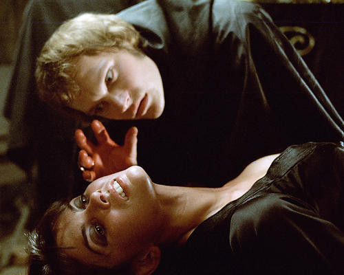 This is an image of 280712 Christopher Neame as Johnny Alucard and Caroline Munro as Laura Bellows in Dracula A.D. 1972