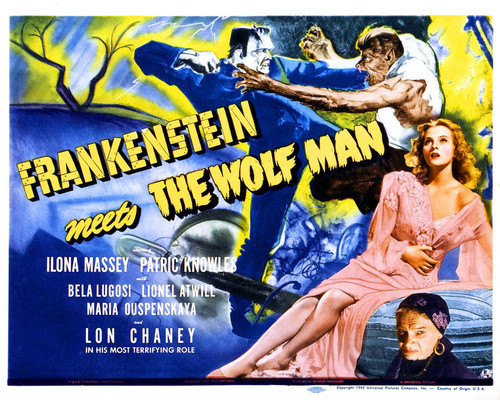 This is an image of Prints & Posters of Frankenstein Meets the Wolf Man 203173