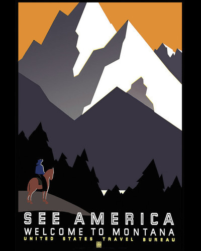 This is an image of Prints & Posters of See America Welcome to Montana 204095