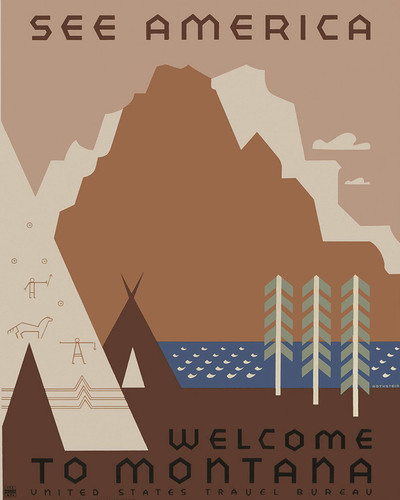 This is an image of Prints & Posters of See America Welcome to Montana 204141