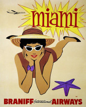 This is an image of Prints & Posters of Miami by Braniff Airways 204170