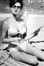 Raquel Welch 1960's pose in white bikini & glasses on beach 8x12 inch real photo