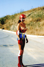Lynda Carter Wonder Woman full length wearing helmet on highway 8x12 inch photo