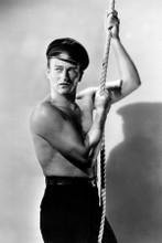 John Wayne macho beefcake bare chest pose holding rope 8x12 inch real photo