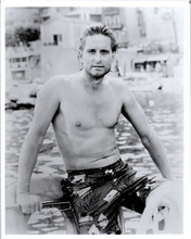 Michael Douglas beefcake bare chested in swim shorts 8x12 real photograph