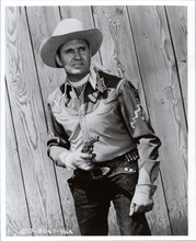 Gene Autry legendary western star ready for action holding gun 8x12 photo