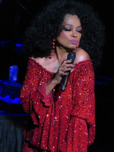 Diana Ross in red dress pouting in concert holding microphone 8x12 inch photo
