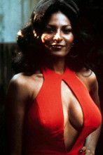 Pam Grier sexy with huge breasts in red plunging neckline dress 8x12 inch photo