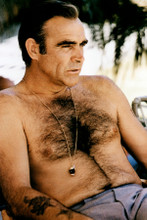 Sean Connery bare chested beefcake relaxing on Bond set 8x12 inch real photo