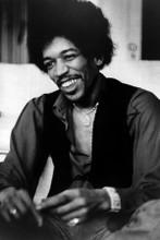 Jimi Hendrix smiling seated press photo late 1960's 8x12 inch real photo