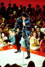 Elvis Presley full length in black leather in concert pose 8x12 inch real photo