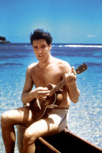 Elvis Presley plays ukelele in swim shorts Blue Hawaii 8x12 inch real photograph