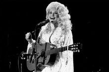 Dolly Parton 1970's smiling portrait in concert playing guitar 5x7 photo