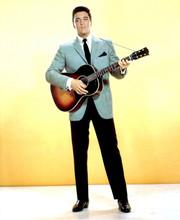 Elvis Presley full length pose in grey jacket holding guitar 5x7 photo