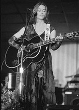 Emmylou Harris 1970's Grand Ole Opry on stage playing guitar 5x7 inch photo