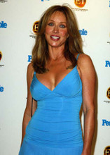 Tanya Roberts candid 1990's pose in low cut blue dress smiling 5x7 inch photo