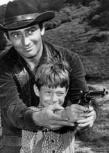 The Virginian Old Cowboy episode Billy Mumy James Drury with gun 5x7 inch photo