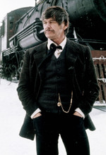 Charles Bronson, posing by steam locomotive from Breakheart Pass 4x6 photograph