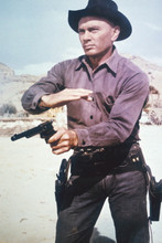 Yul Brynner, as Chris firing gun Return of the Seven 4x6 photo