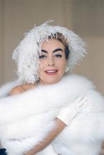 Joan Crawford, Stunning later pose in fur coat 4x6 photo