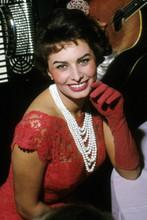 Sophia Loren, candid 1960's pose in red dress 4x6 photo