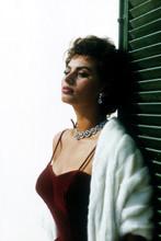 Sophia Loren, stunning glamour pose in red dress with diamonds 4x6 photo