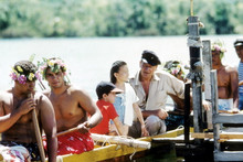 John Wayne, rare with son & daughter on canoe on set Donovan's Reef 4x6 photo