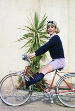 Doris Day, poses on bike for Doris Day Show 4x6 photo