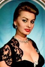 Sophia Loren 1950's busty cleavage pose portrait 4x6 inch real photograph