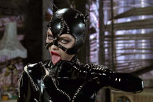 Michelle Pfeiffer sexy pose as Catwoman in leather with tongue out 4x6 photo