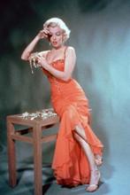 Marilyn Monroe full length pose in orange dress Gentleman Prefer Blondes 4x6
