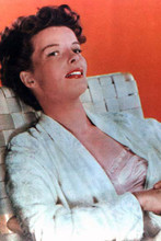 Katharine Hepburn with sexy smile seated in chair 4x6 inch real photograph
