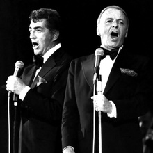 Dean Martin Frank Sinatra in tuxedos singning together on stage 12x12 inch photo