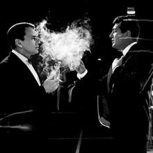 Frank Sinatra Dean Martin in tuxedos smoking cigarettes 12x12 inch photograph