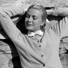 Grace Kelly beautiful 1950's pose in cardigan 12x12 inch photograph