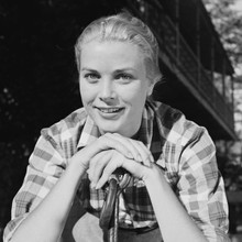 Grace Kelly smiling pose in checkered shirt 1950's 12x12 inch photograph