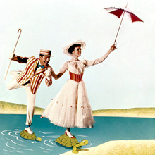 Mary Poppins 12x12 inch photograph Julie Andrews Dick Van Dyke step on turtles