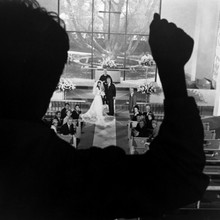 The Graduate Dustin Hoffman knocks on window as Elaine gets married 12x12 photo