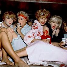 Some Like it Hot Marilyn Monroe Jack Lemmon & girls in train bed 12x12 photo