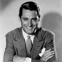 Cary Grant suave and cool portrait smiling in suit 12x12 inch photograph 1950's