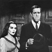 The Munsters rare image of Lily & Fred Gwynne without Herman make-up 12x12 photo