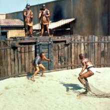 Spartacus Kirk Douglas battles with Woody Strode in gladiator arena 12x12 photo